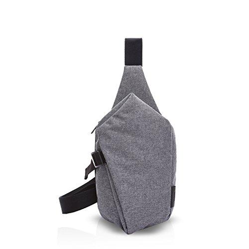 FANDARE Sling Bag Rucksack Umhängetasche Brusttasche Messenger Bag Schultertasche Reisen Wandern Daypack Crossbody Bag Chest Pack Outdoor Sports Reisetasche Polyester Grau (Body Bag Handtasche Rucksack)