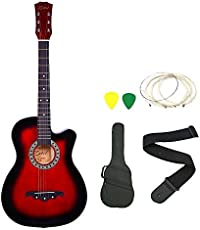 Zabel Elletra Series Acoustic Guitar With Truss Rod, Red, Combo With Bag, Strap, One Pack Strings And Picks