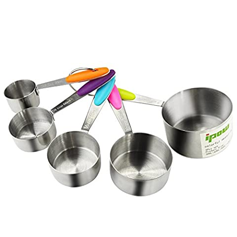 Ipow 5 PCS Stainless Steel Stackable Measuring Cups Set with Soft handle to Measure Dry and Liquid Ingredients for Kitchen Craft Cooking
