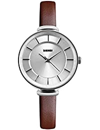 Naivo Women's Quartz Stainless Steel and Leather Watch, Color:Brown (Model: NAIVO-WATCH-1135)
