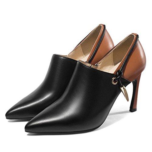 YYHSND Damenschuhe Wiesen High Heels Gericht Schuhe Formale Business Casual Schuhe Mode Arbeiten professionelle Damen Stiefel 34-39cm Frauen Schuhe (Color : Black, Size : 35 EU) - Valentinstag-formale Kleid