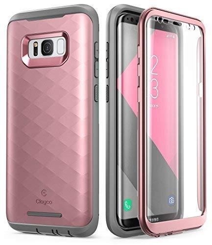 Galaxy S8 Hülle, Clayco [Hera Serie] R&um Schutzhülle Robustes Case/Cover mit eingebautem Bildschirmschutz für Samsung Galaxy S8 (2017 Version) (Rosagold)