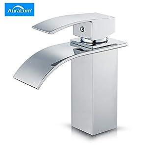 Auralum Grifo de baño lavabo con asa individual, grifo mezclador cascada con agua caliente y fría para lavabo baño