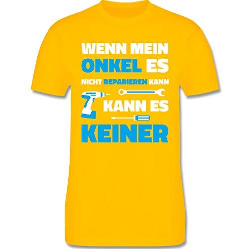 Bruder & Onkel - Wenn Mein Onkel ES Nicht Reparieren Kann - Herren T-Shirt Rundhals Gelb