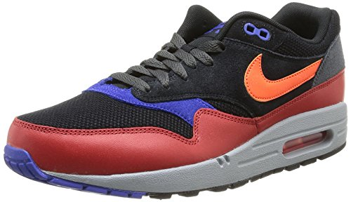 Nike Air Max 1 Essential Unisex-Erwachsene Laufschuhe Training Mehrfarbig (Black/Hyper Crimson-Red Clay) 44 (High Nike Tops Laufschuhe)