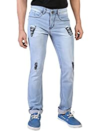 Denim Vistara Men's Blue Torn Ripped Comfort Fit Jeans