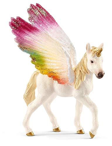 Schleich- Winged Rainbow Unicorn foal Unicornio arcoíris Alado, Potro, (70577)