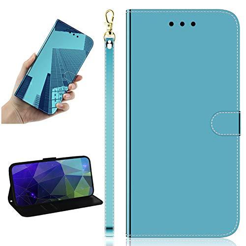 Miagon Spiegel Effekt Brieftasche Hülle für Samsung Galaxy S10e,Schlank PU Leder Flip Make-Up Schutzhülle Standing Wallet Case Cover,Blau
