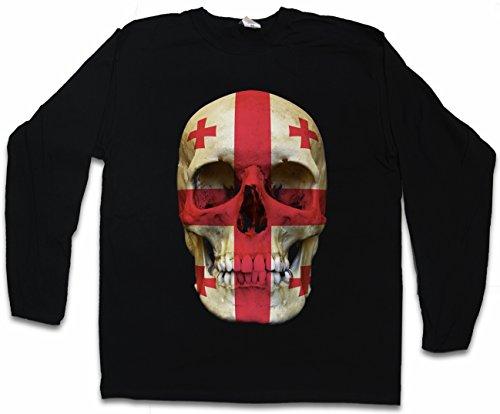 Classic Georgia Skull Flag Herren Langarm T-Shirt - Totenkopf Schädel Banner Fahne Georgien Größen S - 2XL - Georgia Classic-shirt