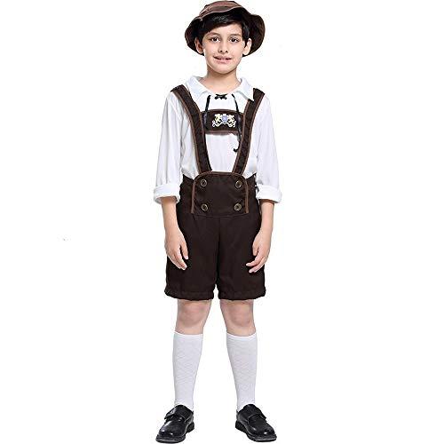 WLYX Jungen Oktoberfest Outfits Bayerische Lederhosen Trachten Deutsches Bierfest Shorts mit Hemd und Hut Halloween Cosplay Kostüm (L)
