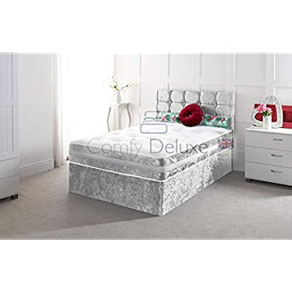 Crushed Velvet Divan Bed Set with Mattress and Free HEADBOARD!!!!! (Silver, 4FT6-2 Draw)