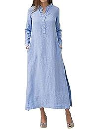 VENMO Vestidos Vestidos Larga Mujer, Camisero Largo Liso de Manga Larga de algodón Mujer,Vestido de Fiesta Maxi Extragrande de Casaul…