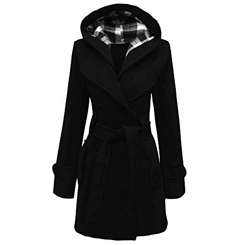 Lady donna tasto con cappuccio cappotto giacca Top Taglia Uk 8-20 Black 44