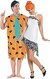 Paar Herren & Damen Kostüm FRED & Wilma Flintstone 1960's Film/TV Erwachsene Kostüme Jahrzehnte Prähistorisch Höhlenmensch Höhlenfrau Party Outfits - Mehrfarbig, Mehrfarbig, Ladies UK 12-14 & Mens XL