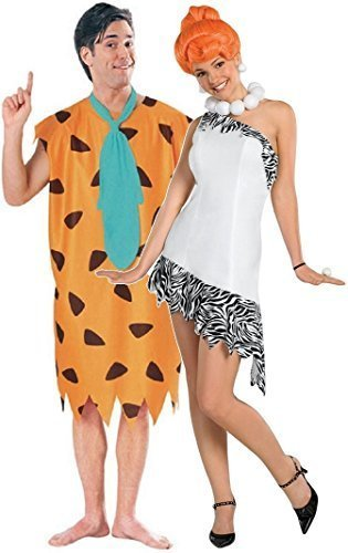 & Damen 60s Jahre Kostüm FRED & Wilma Feuerstein Feuerstein Verkleidung Outfit - Multi, Ladies 12-14 & Mens XL (Wilma Fred Feuerstein Kostüme)