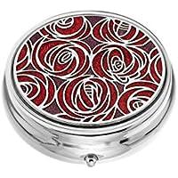 Preisvergleich für Pillendose–3-fach–Rosendesign von Rennie Mackintosh, Fuchsia/Violett–5cm