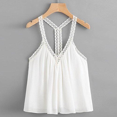 LONUPAZZ Débardeurs Femme Sans Manches Tops Veste Tank Tops Camisole Blanc