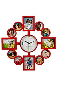 Blacksmith Plastic Multi Photo Frame Wall Clock (41 cm x 41 cm, Red, SQ 1682)
