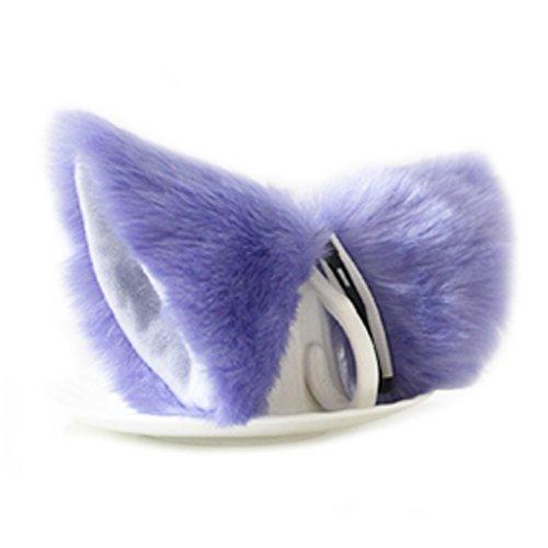 E-TING Katze Fuchspelz Ohren Stirnband Haarband Anime Party Kostüm Cosplay Zubehör (Lila mit Weiß nach innen)