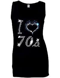 I Love setenta años 70mujer chaleco–diseño y brillantes decorativos–ROCK AND ROLL–DISCO–FANCY DRESS–(tamaño 8TO 16)