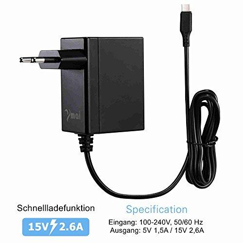 230V Netzteil Ladegerät passend für Nintendo Switch 15V 2,6A - Kabellänge: 1,50m- Euro-Stecker - Hersteller: Y-Mai Dock, Dash