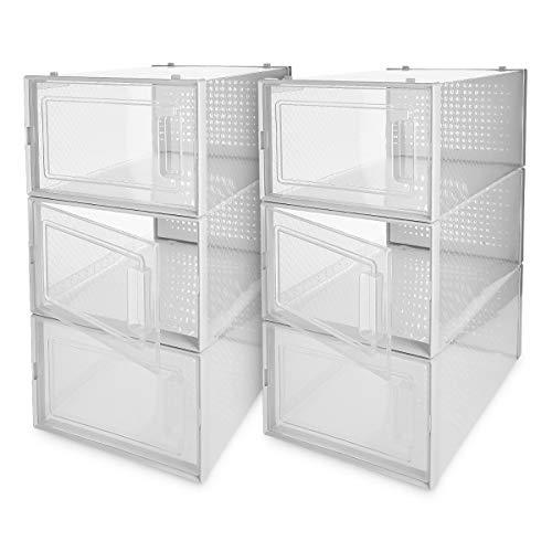 Navaris Set de 6 Cajas de Zapatos Transparentes - Cajas para almacenaje apilables - Organizador de plástico...
