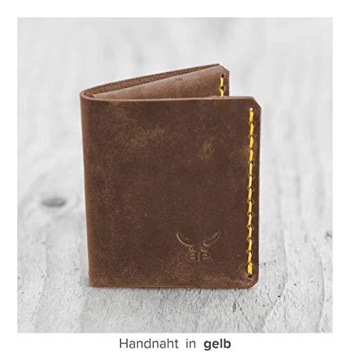 kleine & kompakte braune mini Männer Heritage Geldbörse MONO aus bestem Leder, handgenäht & metallfrei - HAEUTE made in Germany