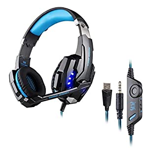 Gaming Headset für PC, Gaming Kopfhörer mit Mikrofon [ LED Licht ] Stereo Bass [ Lautstärkeregler ] Over Ear Headset mit Flexible Omnidirektional Mikrofon für playstation 4 Xbox One Nintendo