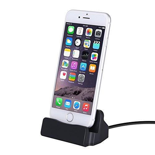 YooGoal Dockingstation Ladestation für das Apple iPhone - Dock Station mit Kabel - Ladegerät für 7, 7 Plus, 6s, 6, 6 Plus, 6s Plus, 5, 5s, 5c, SE, iPod - Schwarz