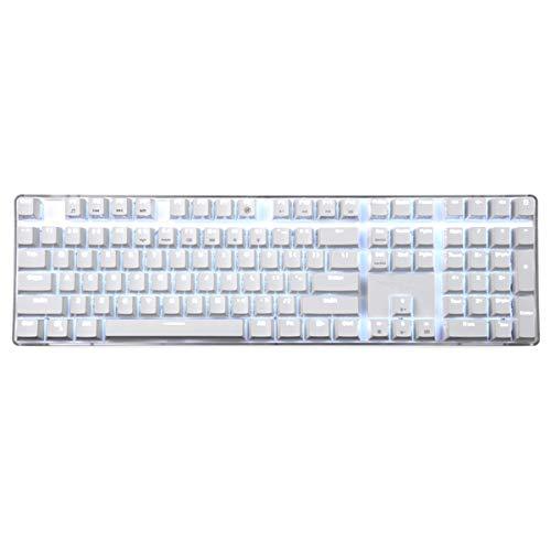 Qisan Mechanische Tastatur 108 Tasten Full Anti-Ghosting Kirsche MX Braun Switch Verdrahtete Hintergrundbeleuchtung Gaming-Tastatur Magicfore-Weiß