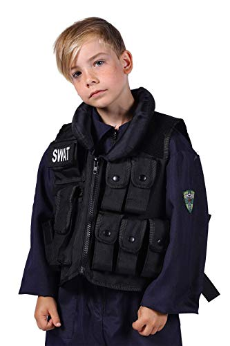 SWAT-Weste Deluxe mit vielen Taschen & Swat-Bagde Kinder Größenverstellbar Polizeikostüm Oberteil FBI SEK Karneval Fasching Hochwertige Verkleidung Fastnacht Einheitsgröße Schwarz (Csi Kostüm Zubehör)