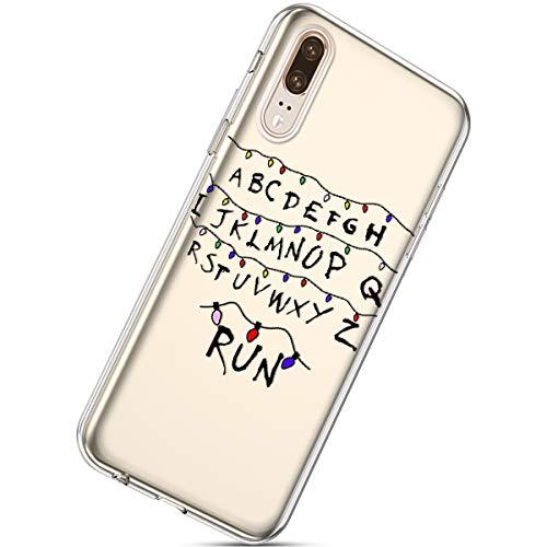 Kompatibel mit Handytasche Huawei P20 Weihnachten Hülle Clear Case Ultra Dünn Durchsichtige Silikon Kirstall Transparent Handy Hülle Bumper Cover Schutz Tasche Schale,Weihnachten Licht