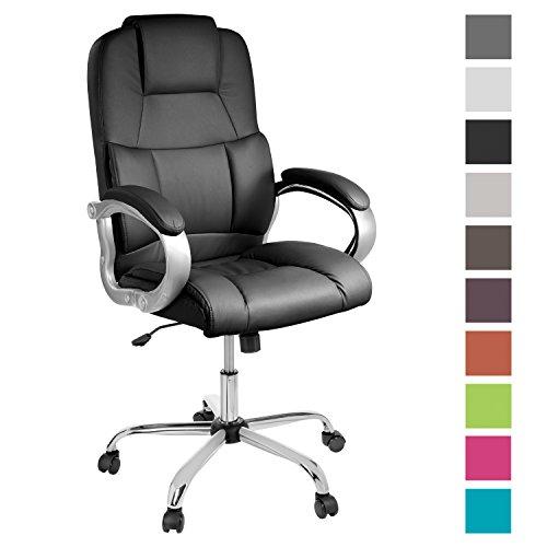 TPFLiving bequemer Premium XXL Bürostuhl Chefsessel Schreibtischstuhl DENVER schwarz belastbar bis 210 kg hochwertig Kunstleder Wippfunktion stabile Castor Rollen in 10 Farben wählbar