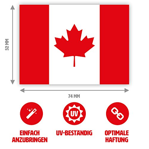 10 x Aufkleber Kanada-Flagge, 7,4 x 5,2 cm für innen und außen (Kanada Aufkleber)