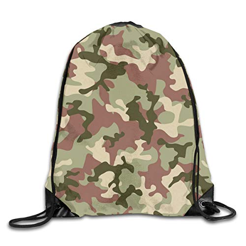 New Shorts Illustrated Green Camouflage In Forest Colors Hunter Combat Drawstring Backpack Rucksack Shoulder Bags Sport Gym Bag for Men and Women Hunter Green-rucksack