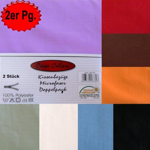 2er Pg. Kissenbezüge, Kissenbezug, Kissenhüllen, 40x40 od. 40x80 od. 80x80cm, Microfaser,...