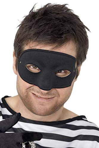 Smiffys Unisex Einbrecher Augenmaske mit bedeckter Nase, One Size, Schwarz, 94192