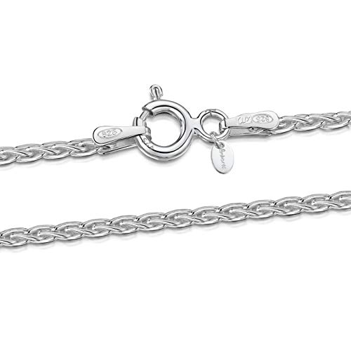 Amberta 925 Sterlingsilber Damen-Halskette - Weizen-Kette - 1.7 mm Breite - Verschiedene Längen: 40 45 50 55 60 cm (60cm)