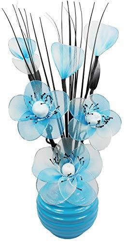 Flourish 790769 813 - Vaso da Fiori Dipinto a Mano, Colore: Azzurro, con Bouquet di Fiori in Nylon Color Tiffany/Bianco