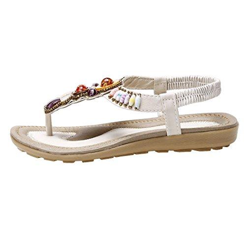 cooshional Damen Sommer Sandalen, Bohemian Sandaletten aus PU Leder, Sommer Schuhe Strand Flip Flop Beige