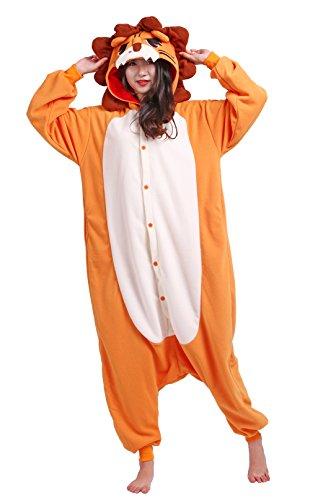 Männer Damen Pyjama Kostüm Overall Plüschoverall Tier Verkleidung für Erwachsene Löwe