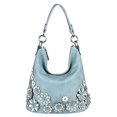 ital-design Damen Blumen Tasche Shopper Hobo-Bag Beuteltasche Leder Optik CrossOver Henkeltasche Handtasche Schultertasche Umhängetasche (Blau 36x27x20 cm) (Leder Luxus Gepäck)