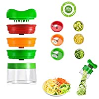 Spiralizer, Hand held Vegetable Spiralizer, 4 In 1 Vegetable Slicer Adjustable Non-Slip Lightweight Veggie Cutter Spiral Slicer,Perfect for Carrot, Cucumber, Potato, Zucchini Noodle Spaghetti