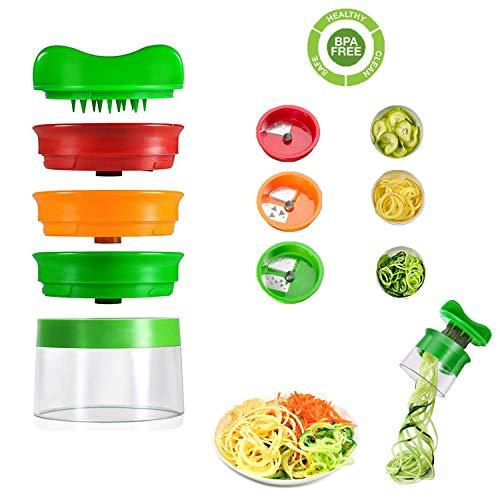 XUNKE Spiralschneider Hand für Gemüsespaghetti, 3-Klingen Gemüseschneider für Karotte, Gurke, Kartoffel, Kürbis, Zucchini