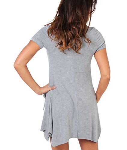 KRISP® Femmes Robe Tunique 2 en 1 Froncée Gris