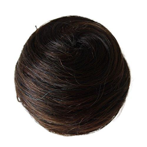 Prettyshop 100% capelli updo ballerina knoten donut bun top knot scrunchie parrucchino coda di cavallo colori diversi (mix marrone scuro 1bh4 h311)