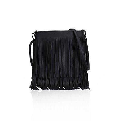 Beide Side Fringe Quaste Cross Body Taschen für Damen mit verstellbaren langen Schultergurt Gessy in Solid Color (003Black) -