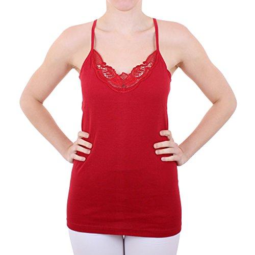 2er Pack Damen Hemd mit Spitze mit Spaghettiträger Nr. 356 Feinripp - Sehr gute Qualität ( Rot/Schwarz / 56/58 ) - 4