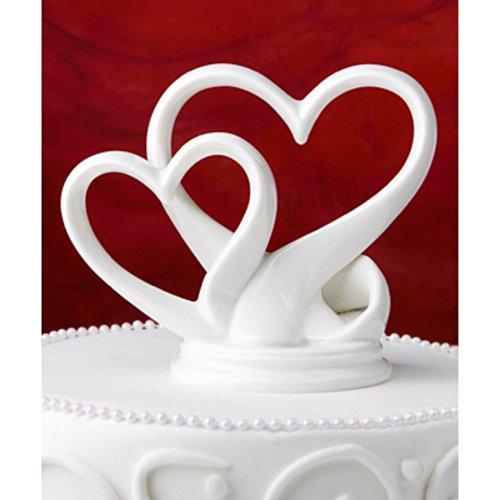 Tortendeko Tortenaufsatz Herzen Porzellan weiß
