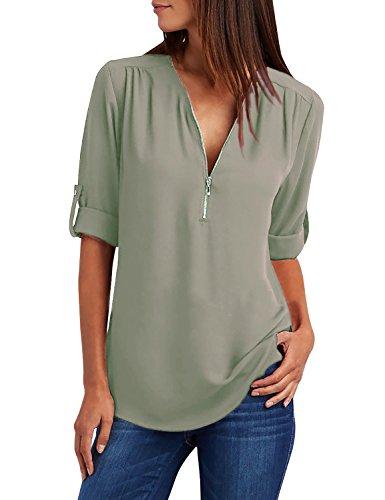 Yidarton Damen Blusen Chiffon Langarm Tunika mit Reißverschluss Vorne V-Ausschnitt Oberteile T-Shirt (Khaki, Large)